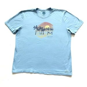 """Life is Good """"Crusher Tee"""" with Palm Trees - Blue"""